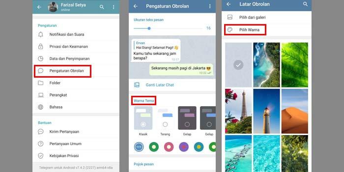 Mengubah Warna Tema Telegram