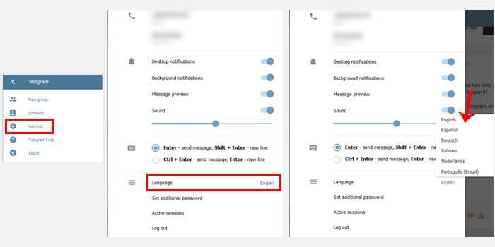 cara ubah bahasa di telegram web