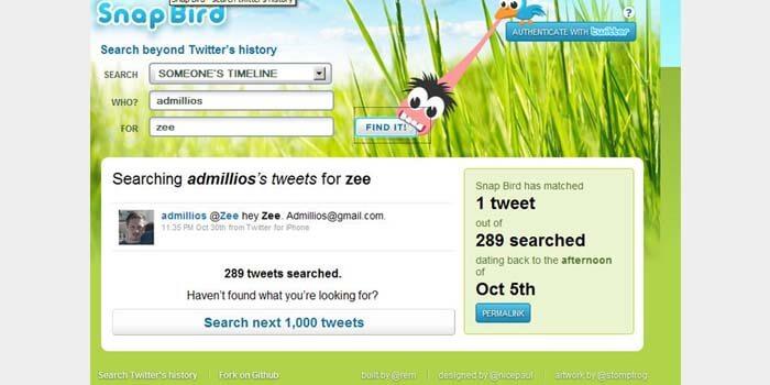 cara cari tweet lama di twitter menggunakan SnapBird