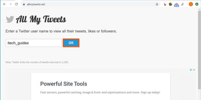 cara mencari tweet lama di twitter menggunakan AllMyTweets