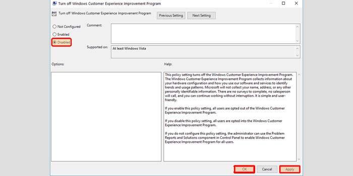 Disabled Windows Customer Experience Improvement Program