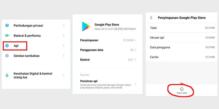 Menghapus Cache Playstore