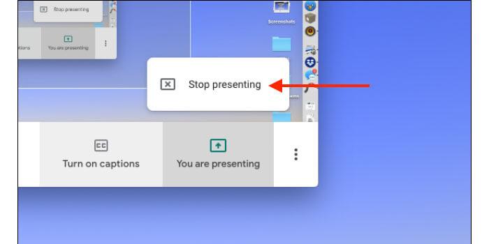 Cara Stop Share Screen Google Meet