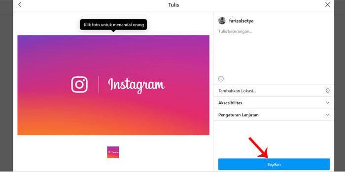 cara upload instagram dari pc