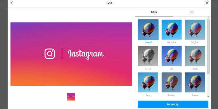 posting foto di instagram pc